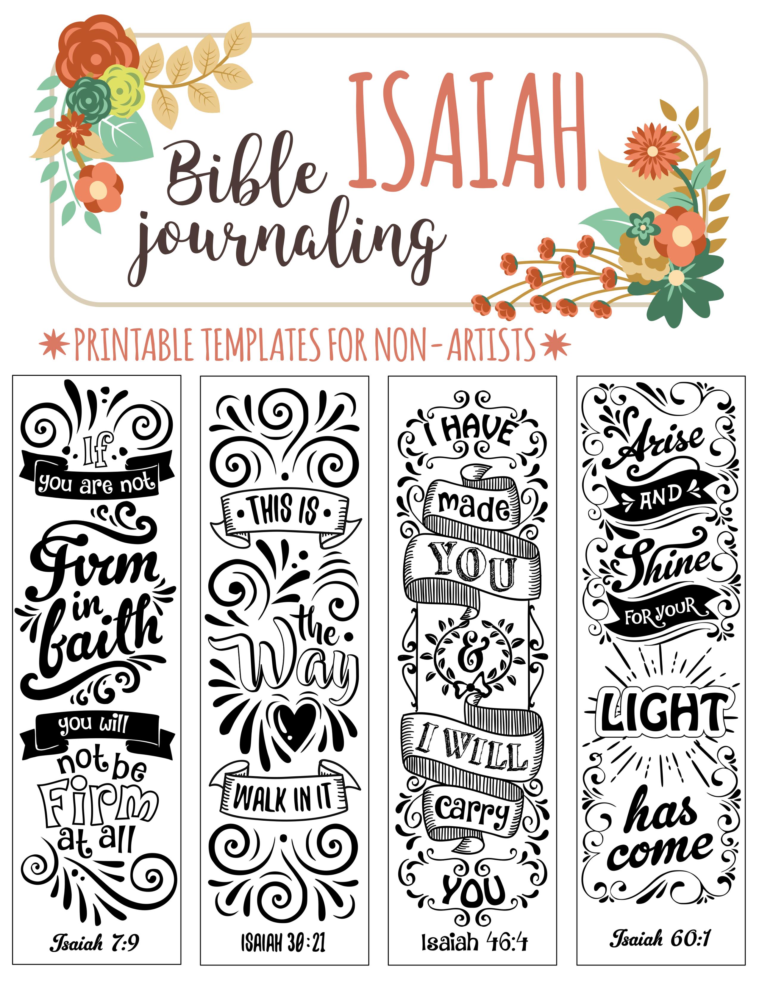 Isaiah - 4 Bible Journaling Printable Templates, Illustrated - Free Printable Bible Bookmarks Templates