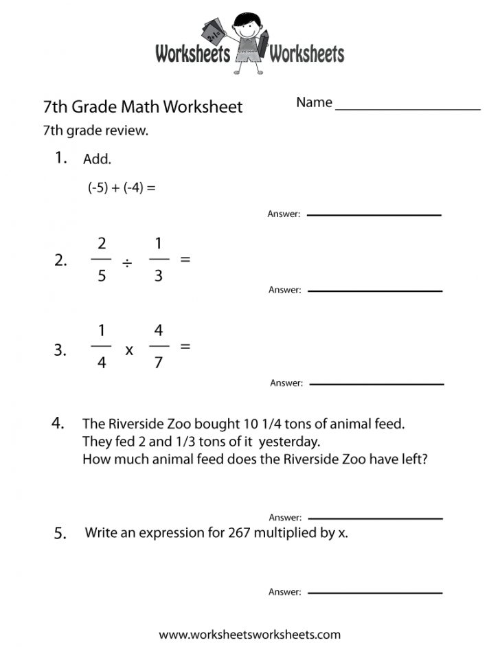 Free Printable 7Th Grade Math Worksheets