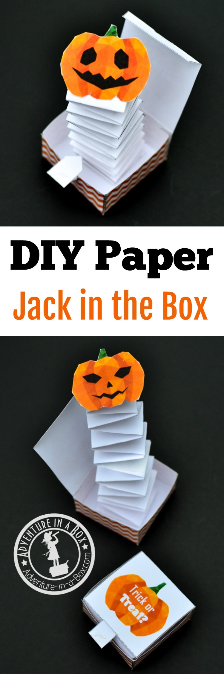 Jack In The Box Paper Toy With A Free Printable Template | Adventure - Free Printable Halloween Paper Crafts
