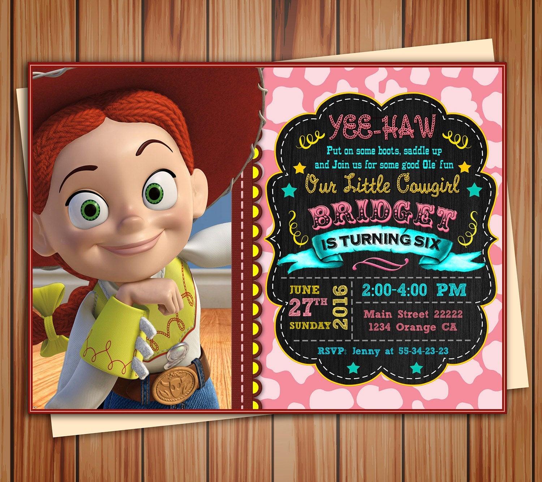 Jessie Cowgirl Toy Story Birthday Photo Invitation Chalkboard   Etsy - Toy Story Birthday Card Printable Free