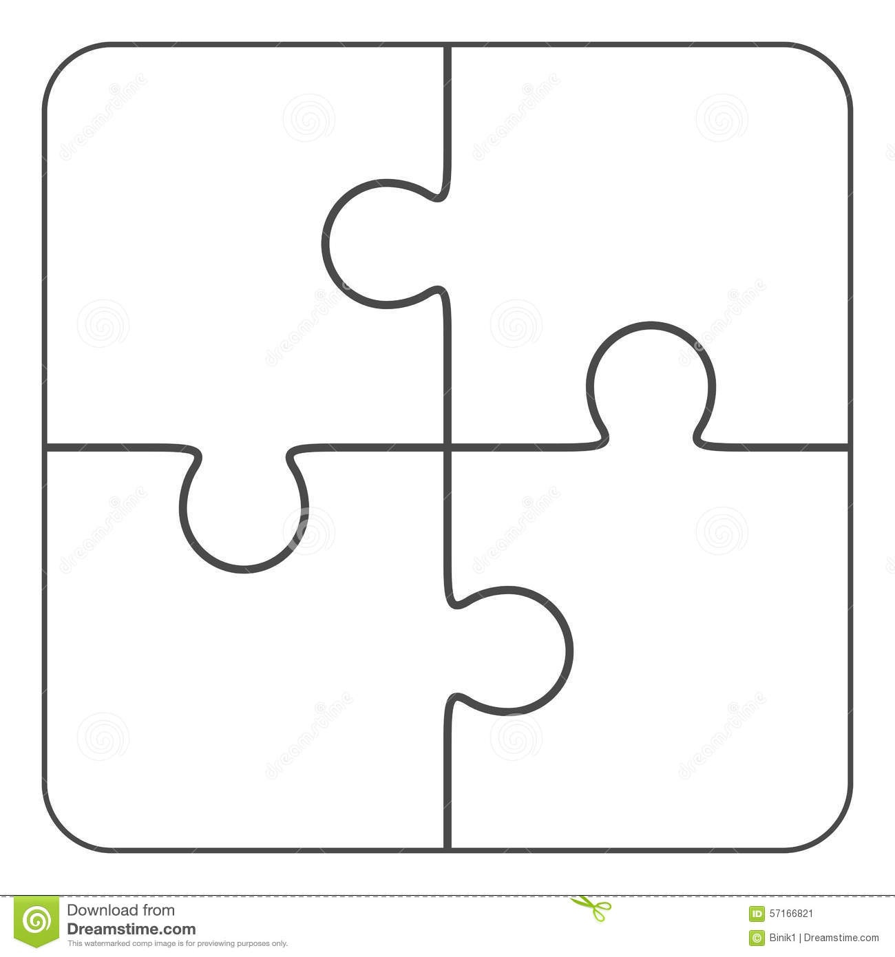 Jigsaw Puzzle Blank 2X2, Four Pieces Stock Illustration - Free Blank Printable Puzzle Pieces