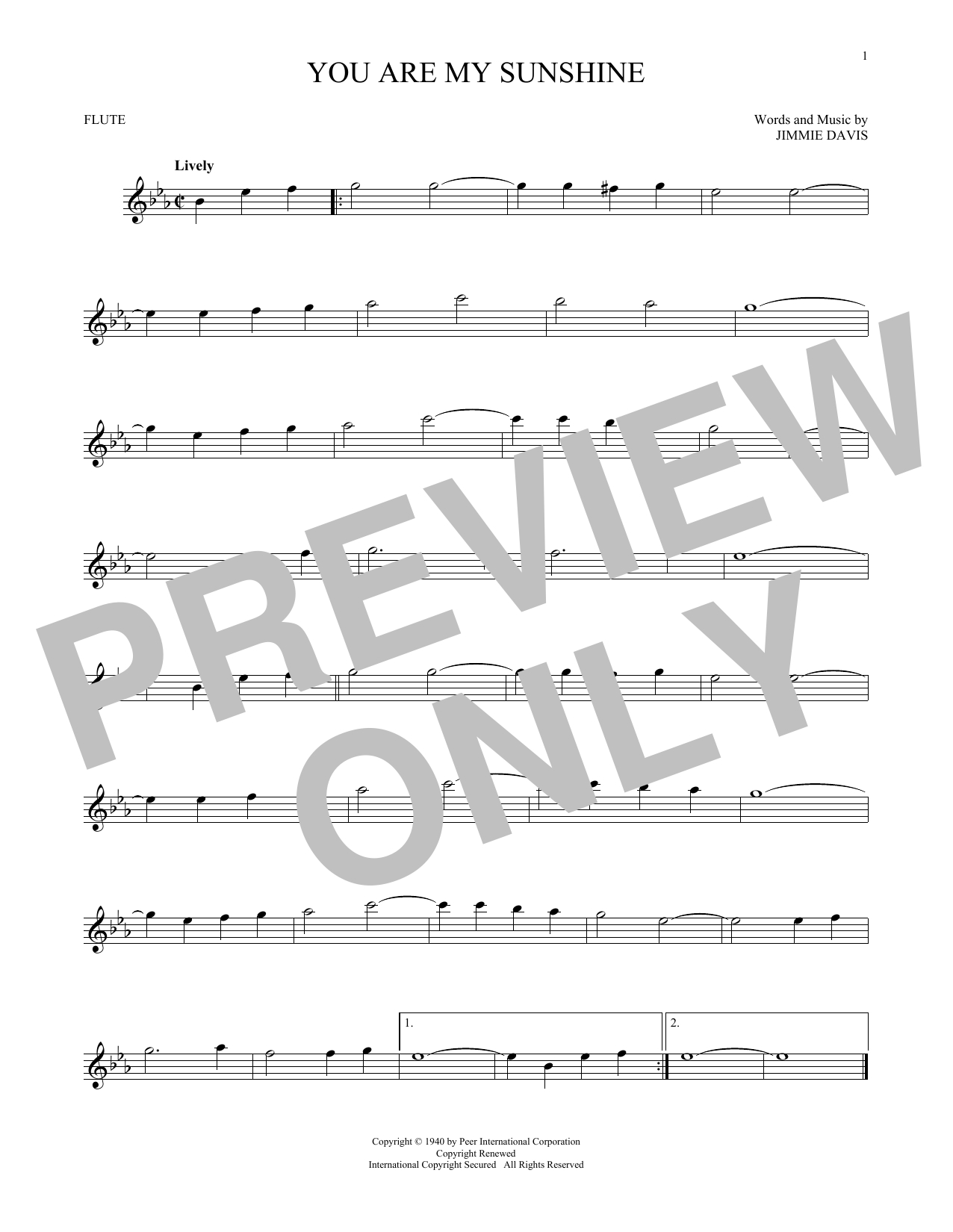 """Jimmie Davis """"you Are My Sunshine"""" Sheet Music Notes, Chords - Free Printable Piano Sheet Music For You Are My Sunshine"""