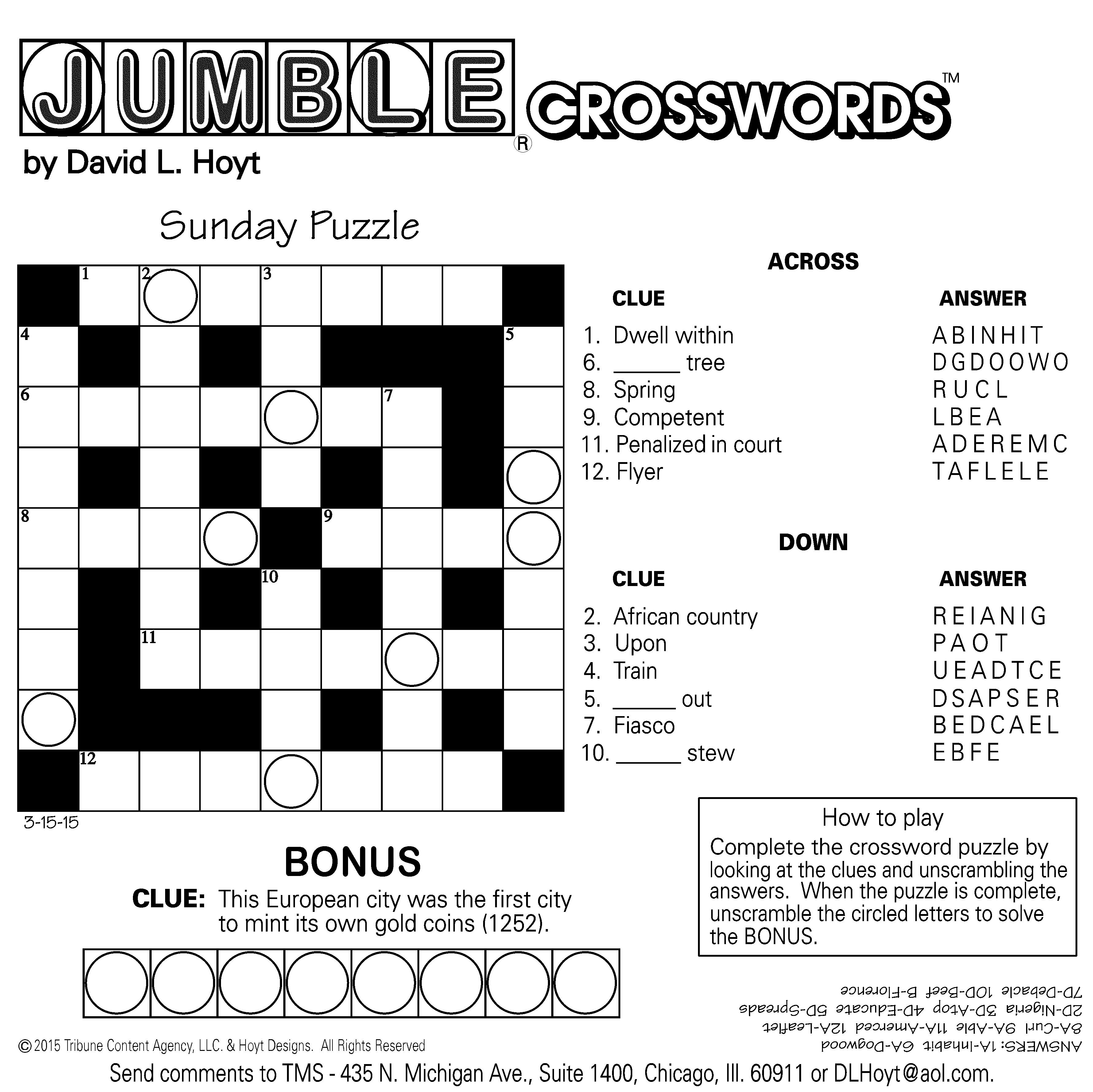 Jumble Archives | Tribune Content Agency - Jumble Puzzle Printable Free