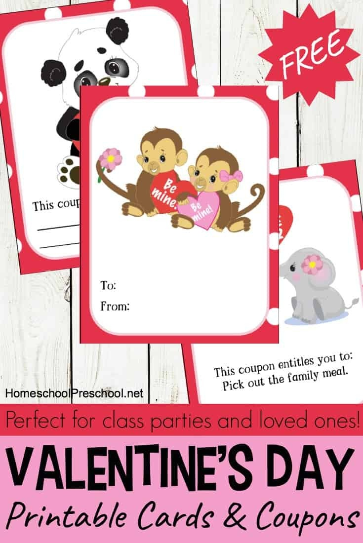 Jungle Love Animal Themed Printable Valentine Cards For Kids - Free Printable Valentines Day Cards Kids