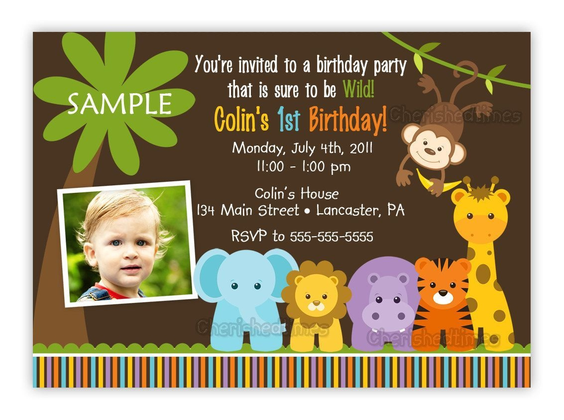 Jungle Themed 1St Birthday Party Invitations   Birthday Invitations - Jungle Theme Birthday Invitations Free Printable