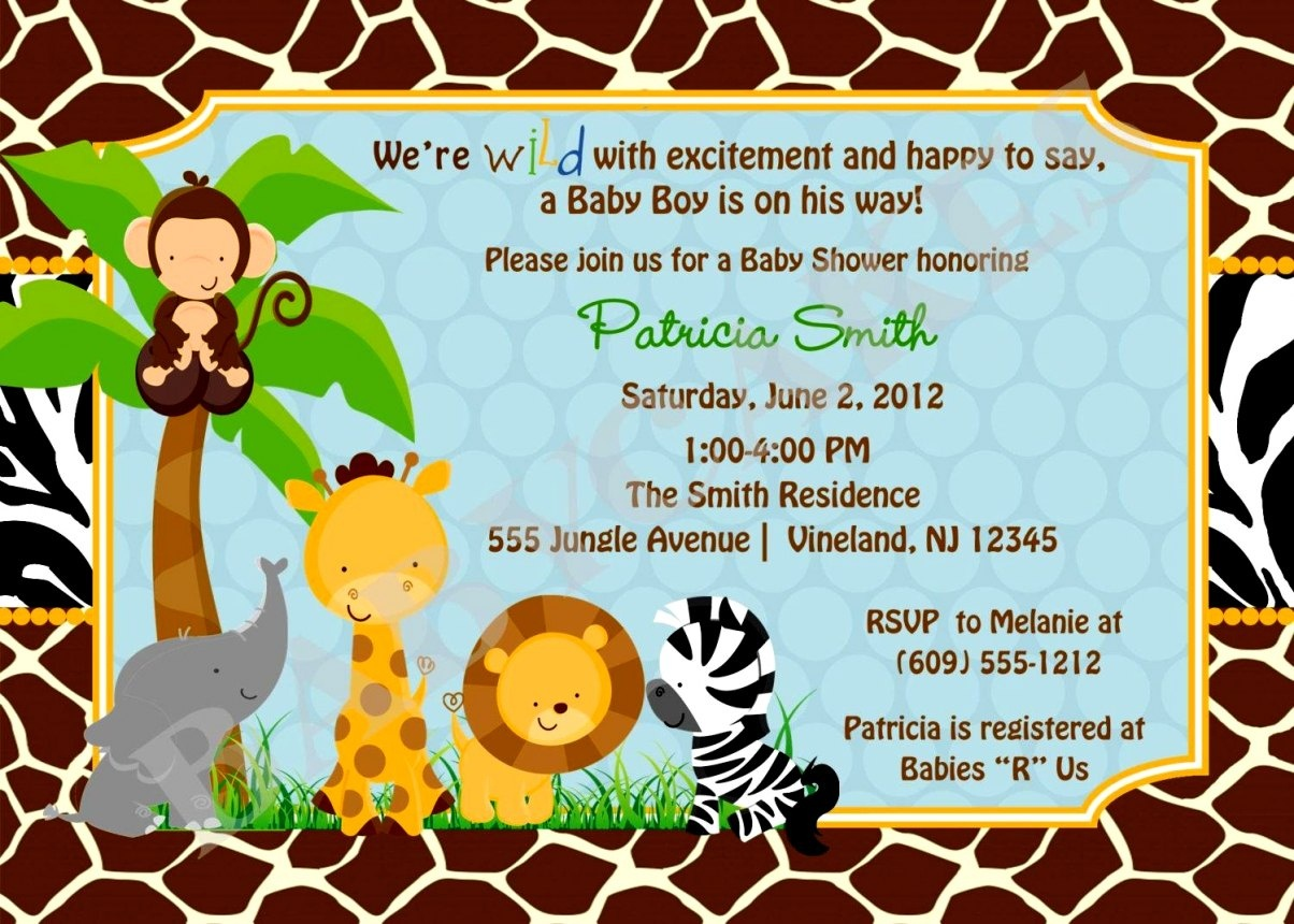 Jungle Themed Baby Shower Invitations Free Printable Safari Ba - Free Printable Zebra Baby Shower Invitations