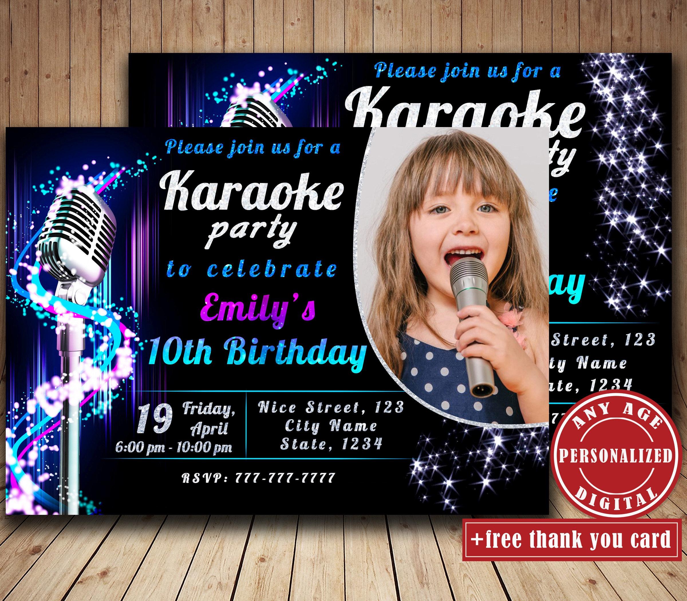 Karaoke Birthday Party Invitation With Photo Singing Party | Etsy - Free Printable Karaoke Party Invitations