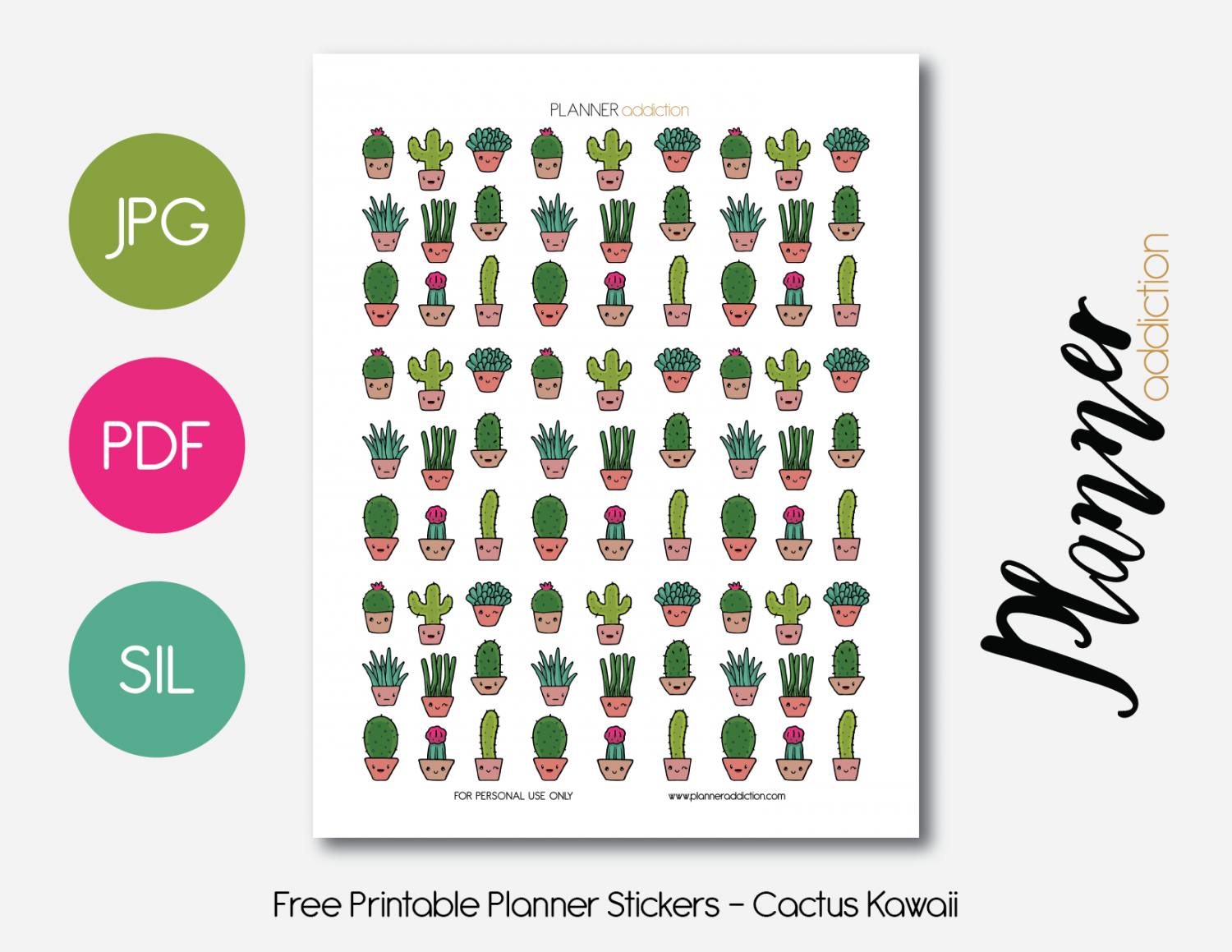 Kawaii Cactus – Planner Addiction - Free Printable Kawaii Stickers