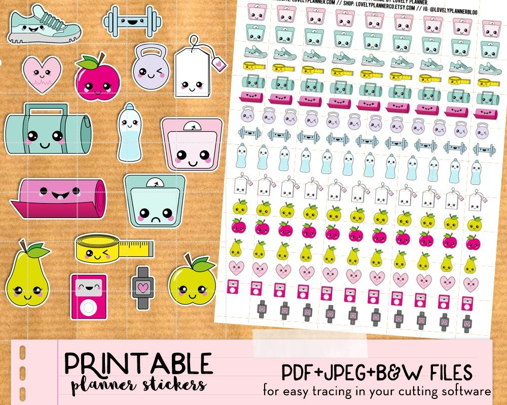 Kawaii Steps And Run Tracker Stickers For Your Planner - Free - Free Printable Kawaii Stickers