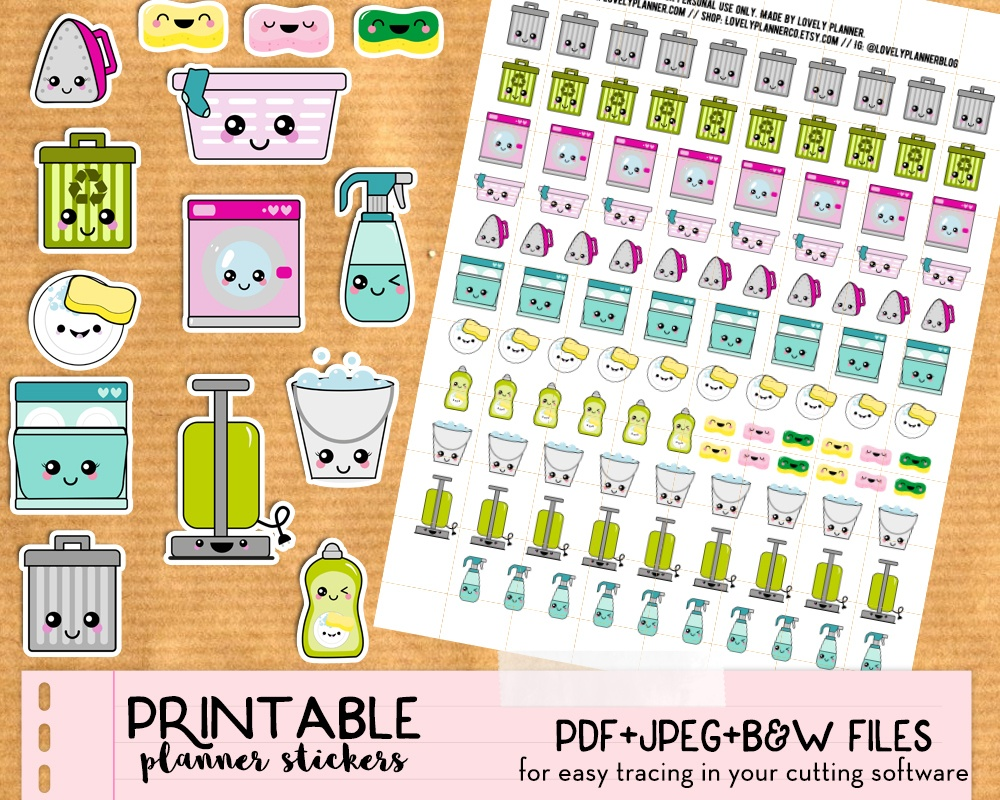 Kawaii Trash Bins Stickers - Free Printable And Cut File - Lovely - Free Printable Kawaii Stickers