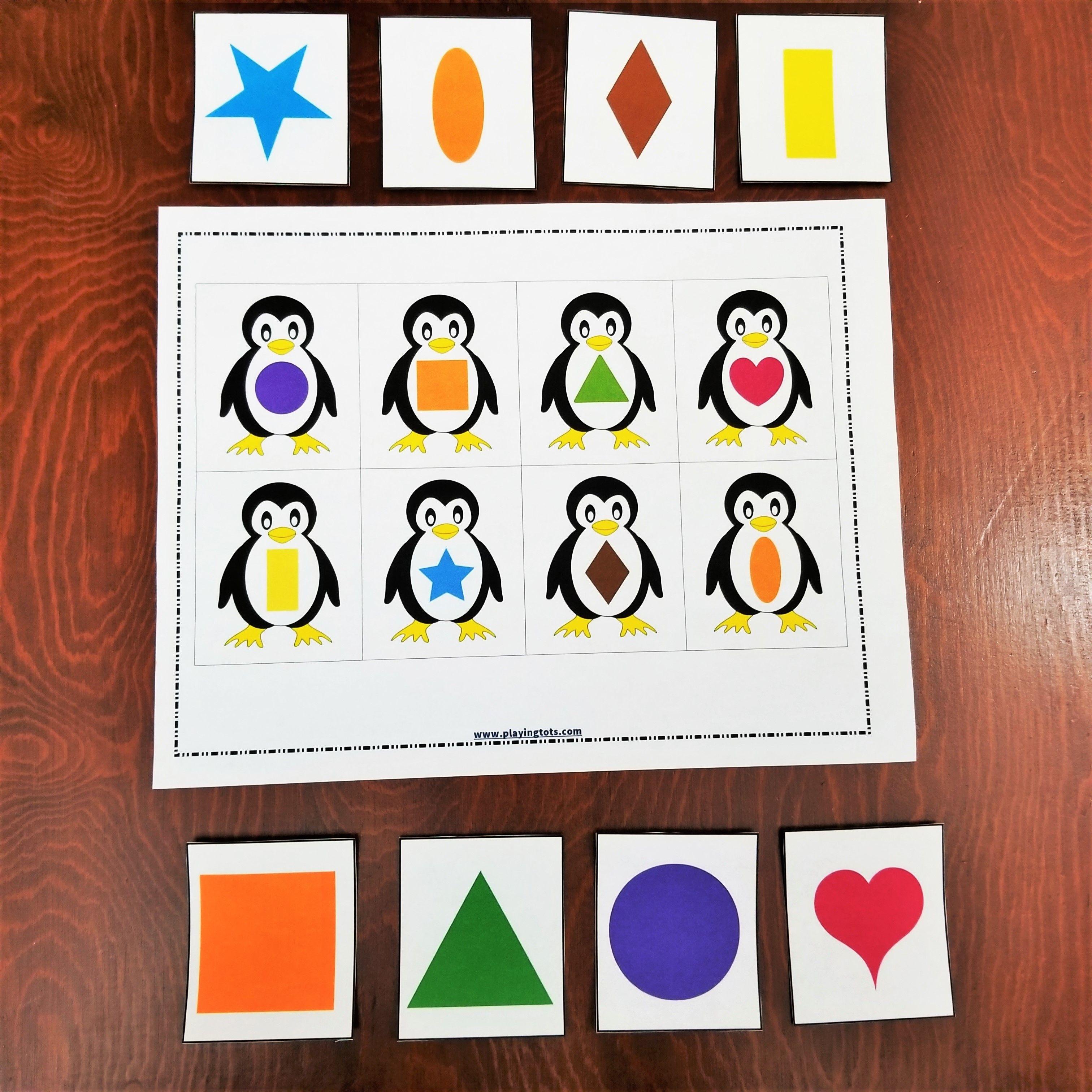 Keywords: Matching,activities,shapes,penguin,animals,toddler,free - Free Printable Preschool Folder Games