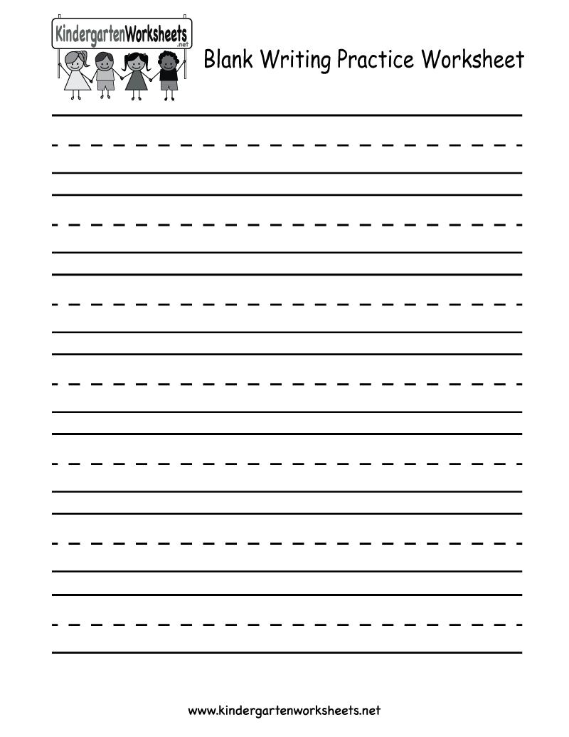 Kindergarten Blank Writing Practice Worksheet Printable | Writing - Free Printable Handwriting Sheets For Kindergarten