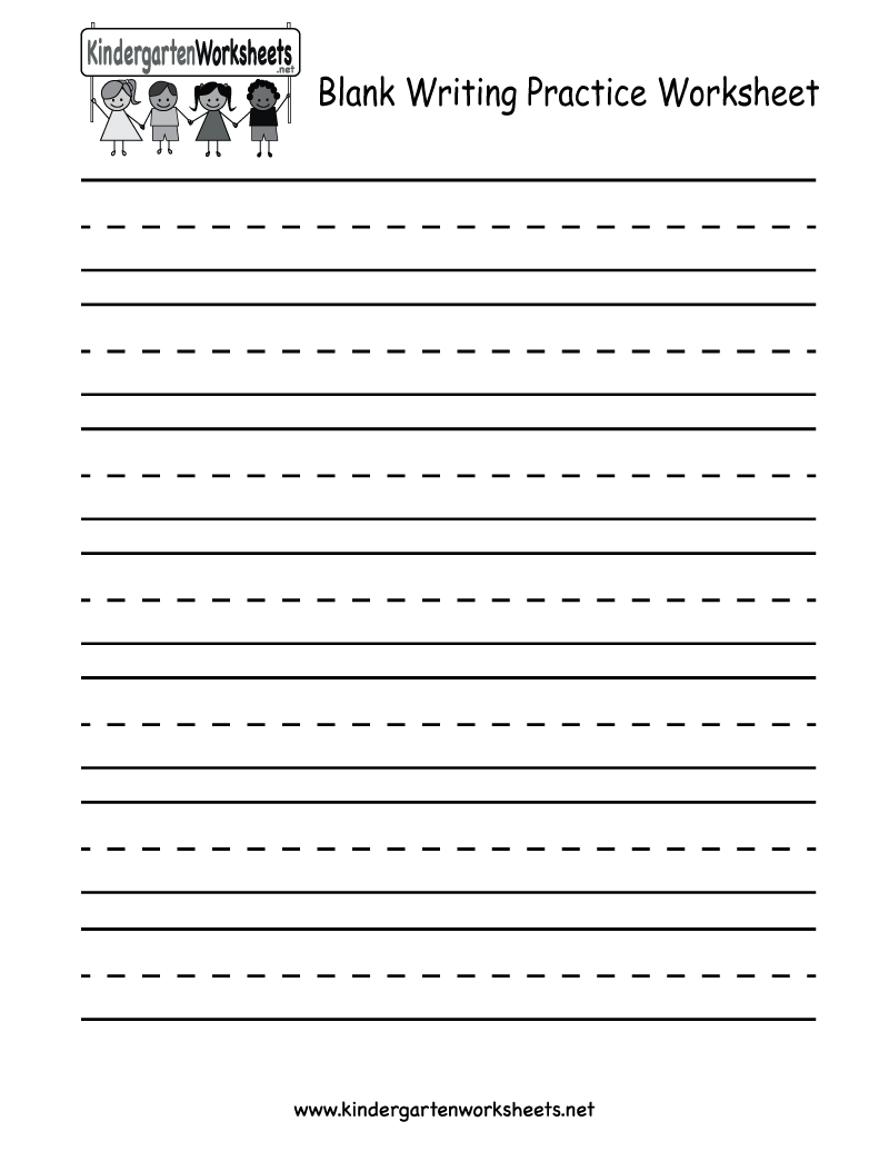 Kindergarten Blank Writing Practice Worksheet Printable | Writing - Free Printable Handwriting Worksheets