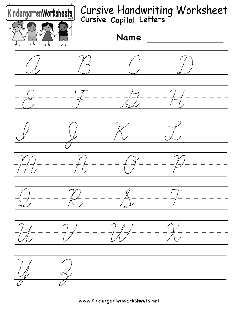 Kindergarten Cursive Handwriting Worksheet Printable | School And - Free Printable Handwriting Worksheets