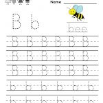 Kindergarten Letter B Writing Practice Worksheet Printable | Things   Free Printable Alphabet Worksheets For Kindergarten