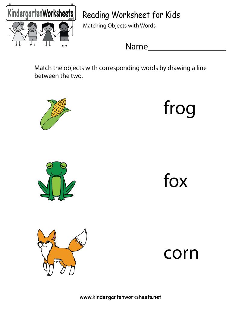 Kindergarten Reading Worksheet For Kids Printable | Pre School - Free Printable English Reading Worksheets For Kindergarten