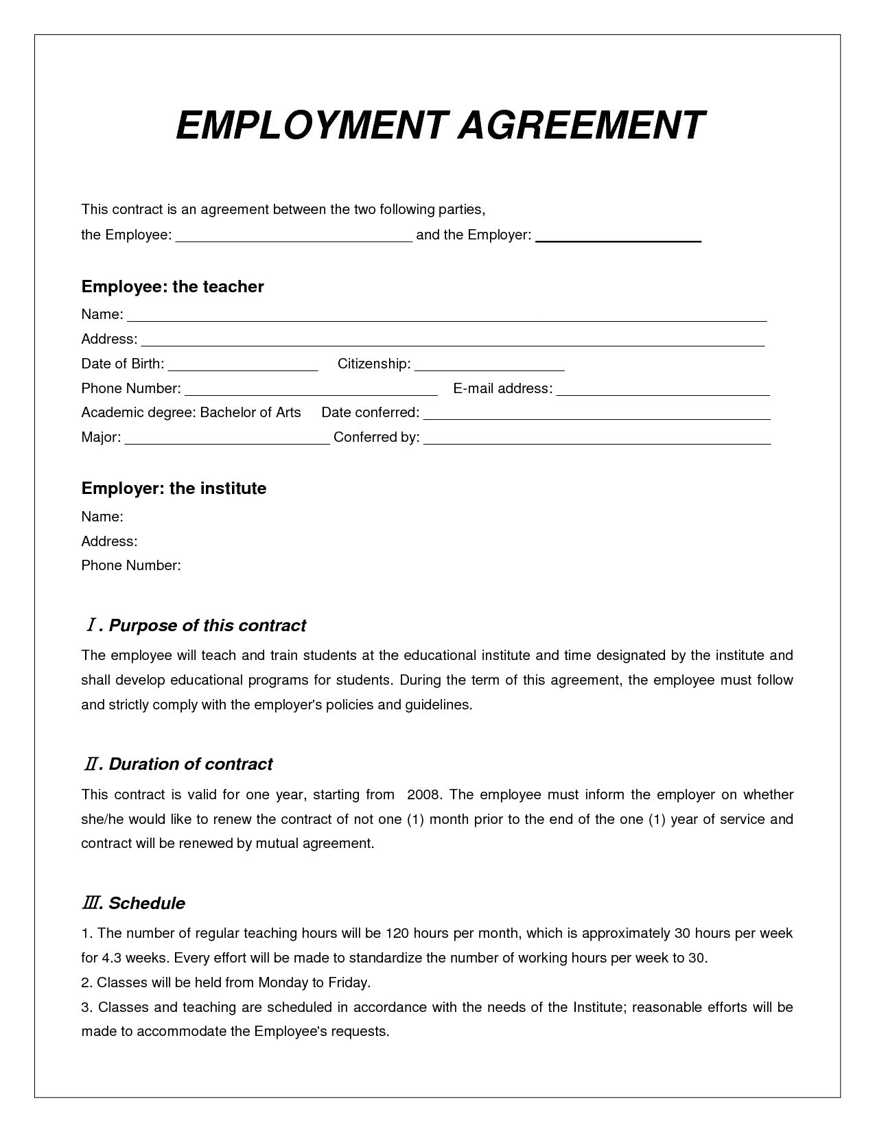 Labor Contract Template - Invitation Templates - Employment - Free Printable Employment Contracts