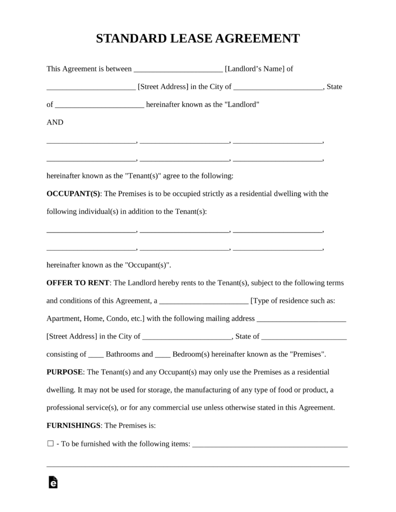 Landlord Lease Template - Tutlin.psstech.co - Free Printable Lease Agreement Pa