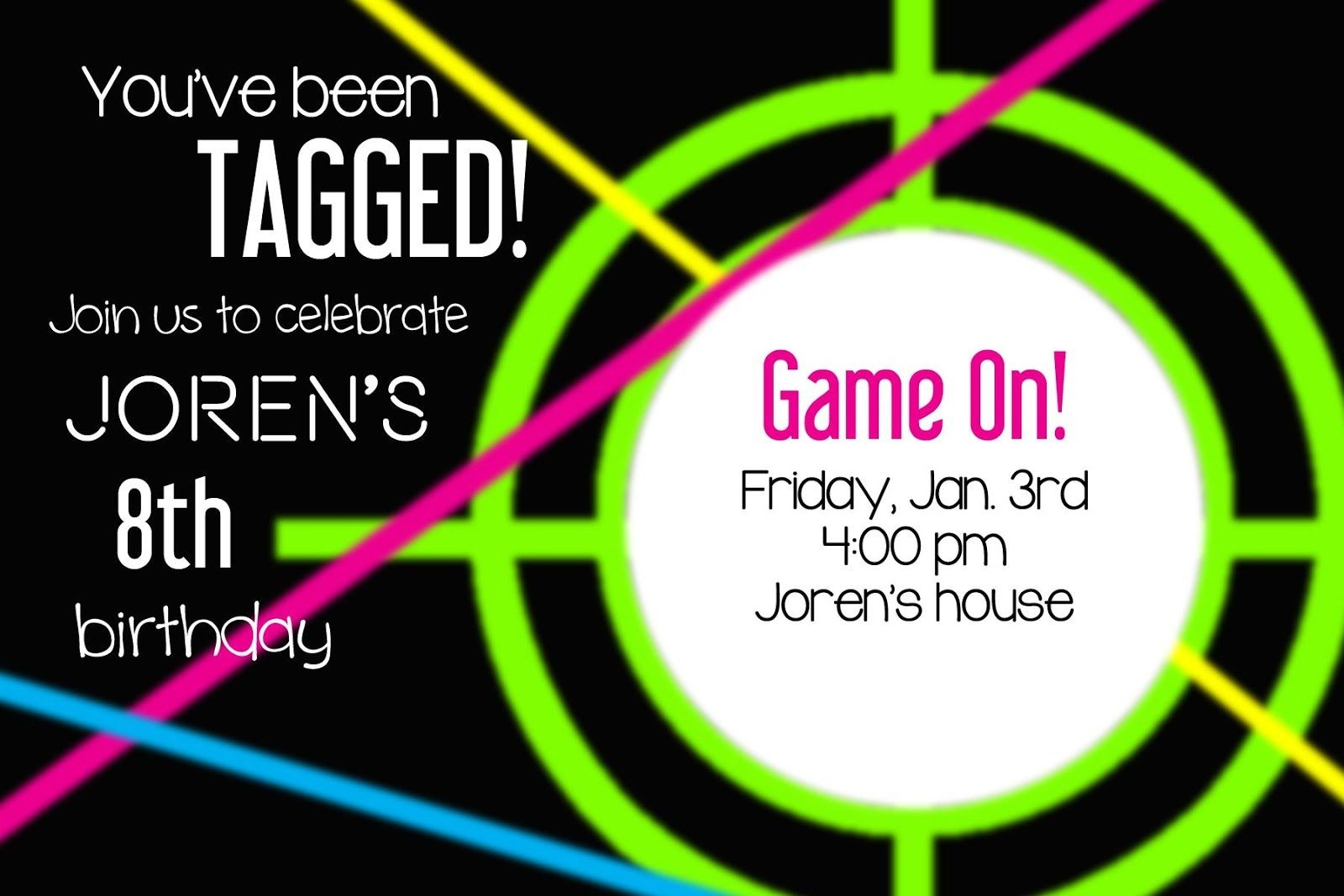 Larcie Bird: Neon Laser Tag {Birthday Party} | Laser Tag Party - Free Printable Laser Tag Invitation Template