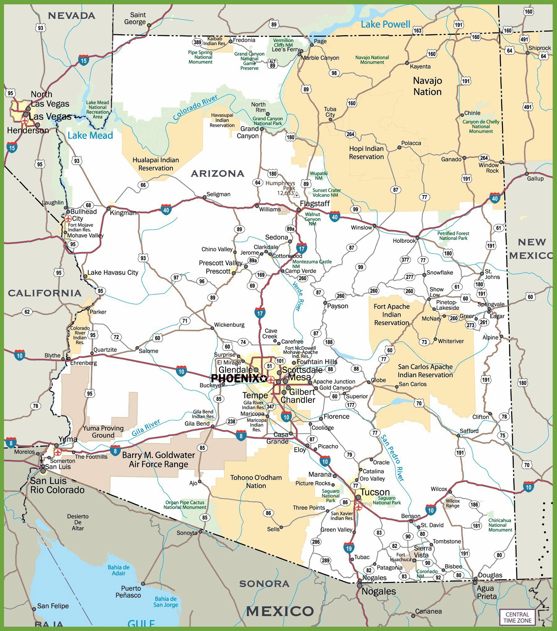 Large Arizona Maps For Free Download And Print | High-Resolution And - Free Printable Map Of Arizona