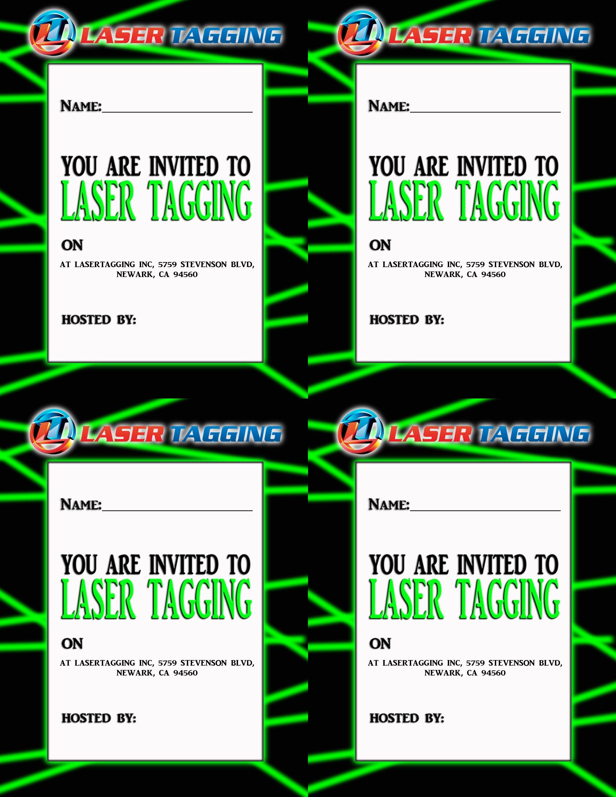 Laser Tag Free Printables | Laser Tag Invitations Printable Free - Free Printable Laser Tag Invitation Template