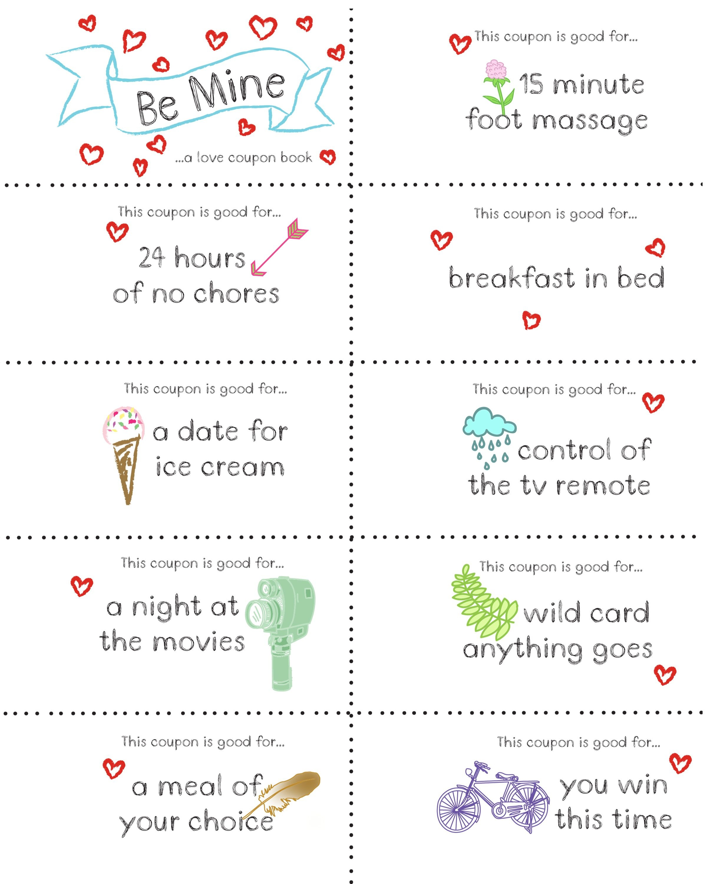 Last Minute Valentine Free Coupon Book Printable | Seasonal | Diy - Free Printable Homemade Coupon Book