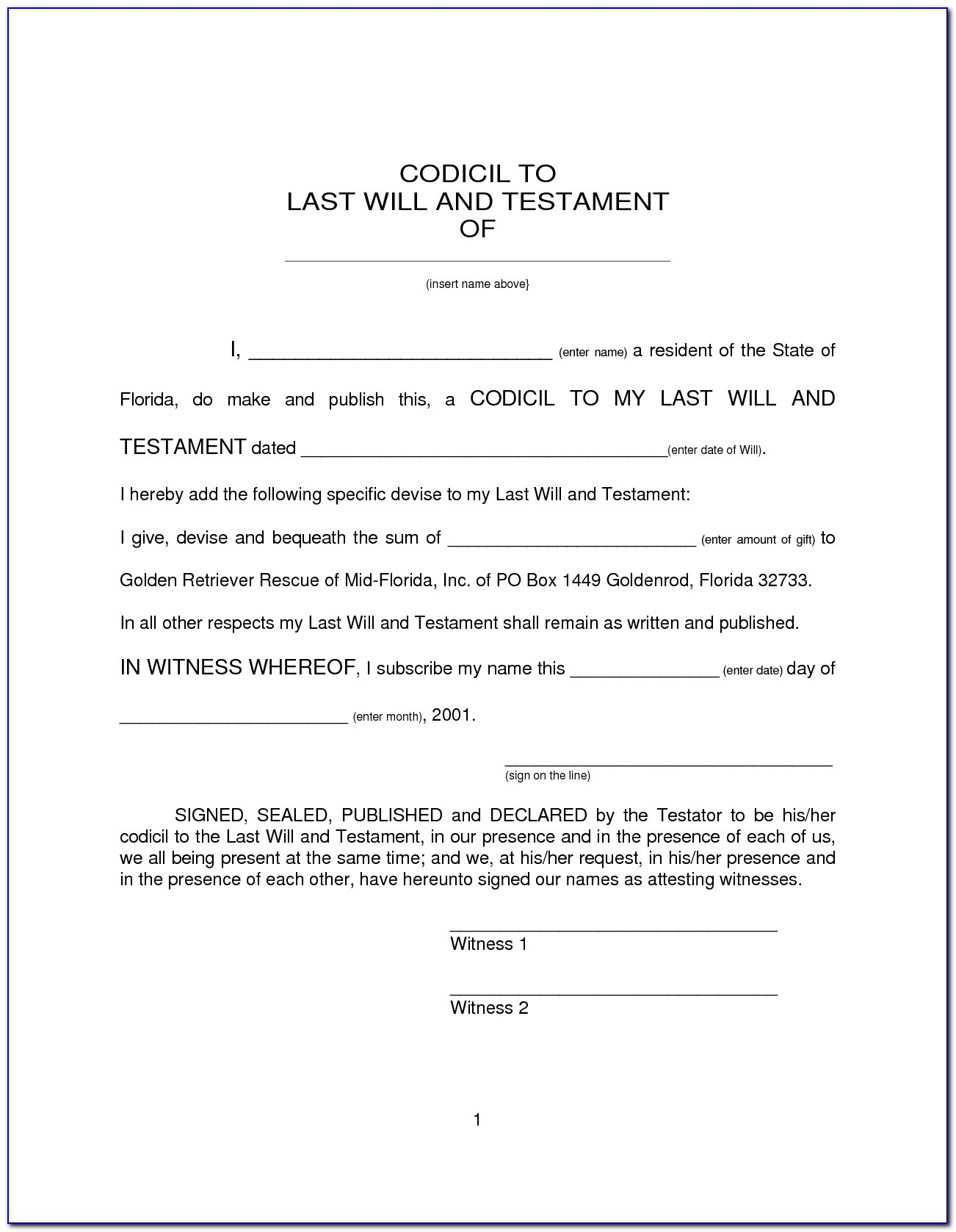 Last Will And Testament Template (6)   Best Agenda Templates Within - Free Printable Last Will And Testament Blank Forms Florida