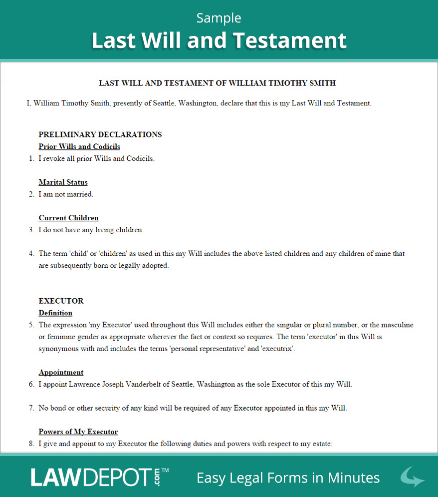 Last Will & Testament Form   Free Last Will (Us)   Lawdepot - Free Printable Living Will Forms Washington State