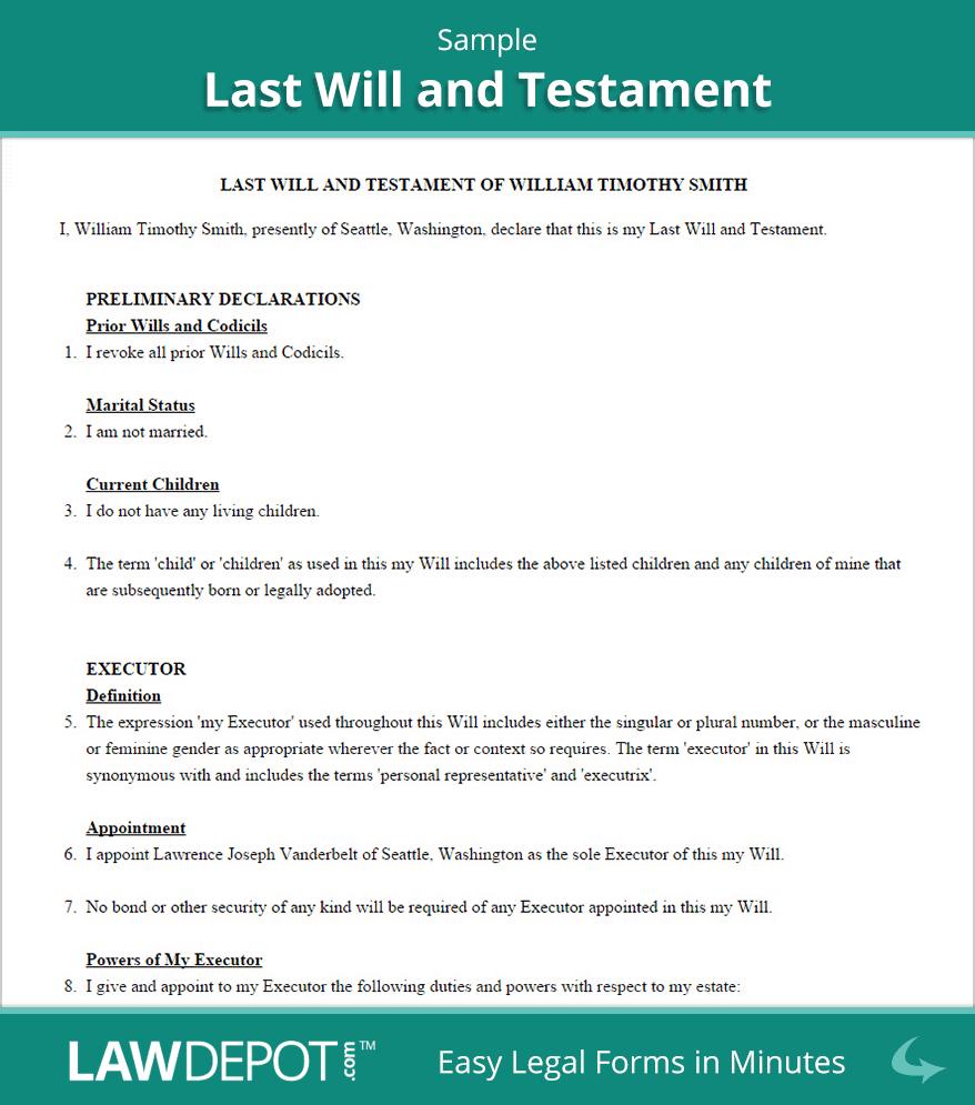 Last Will & Testament Form | Free Last Will (Us) | Lawdepot - Free Printable Wills