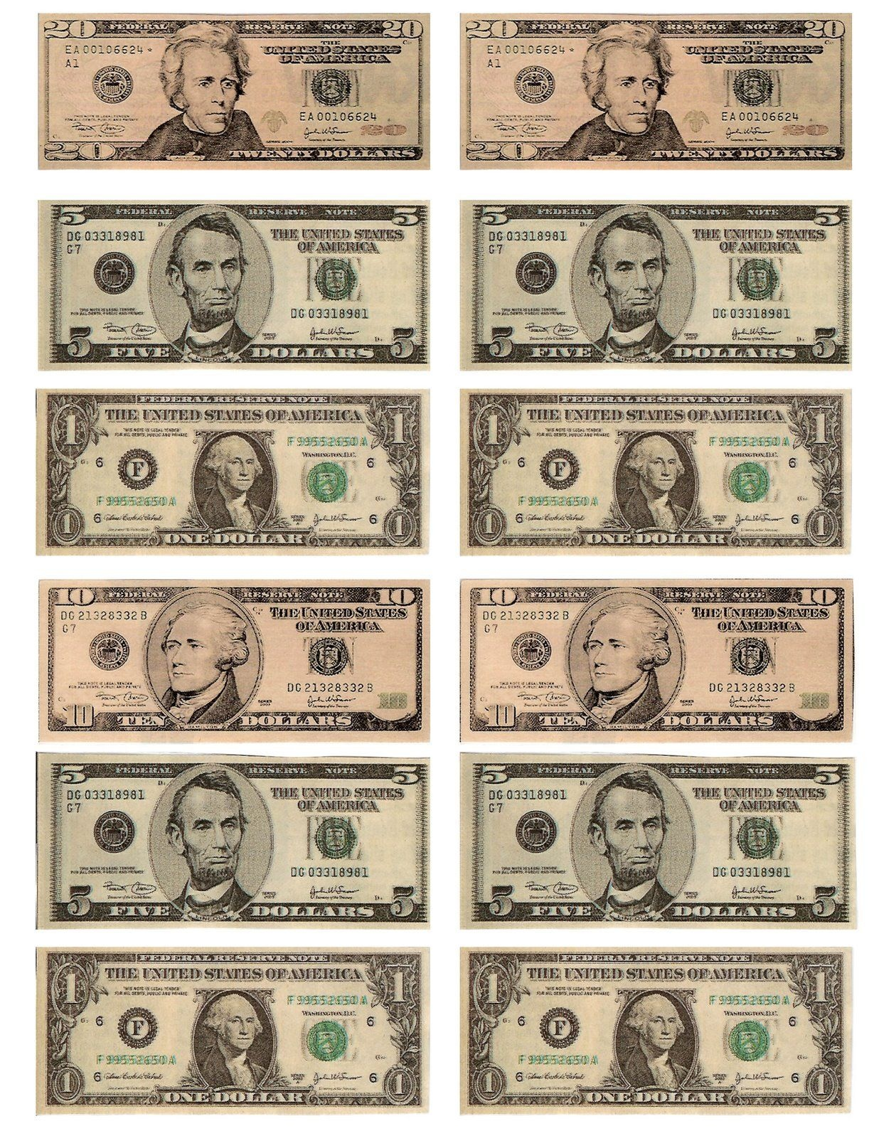 Legal, Free, Printable Money For Teaching The Kids About American - Free Printable Dollar Bill Template