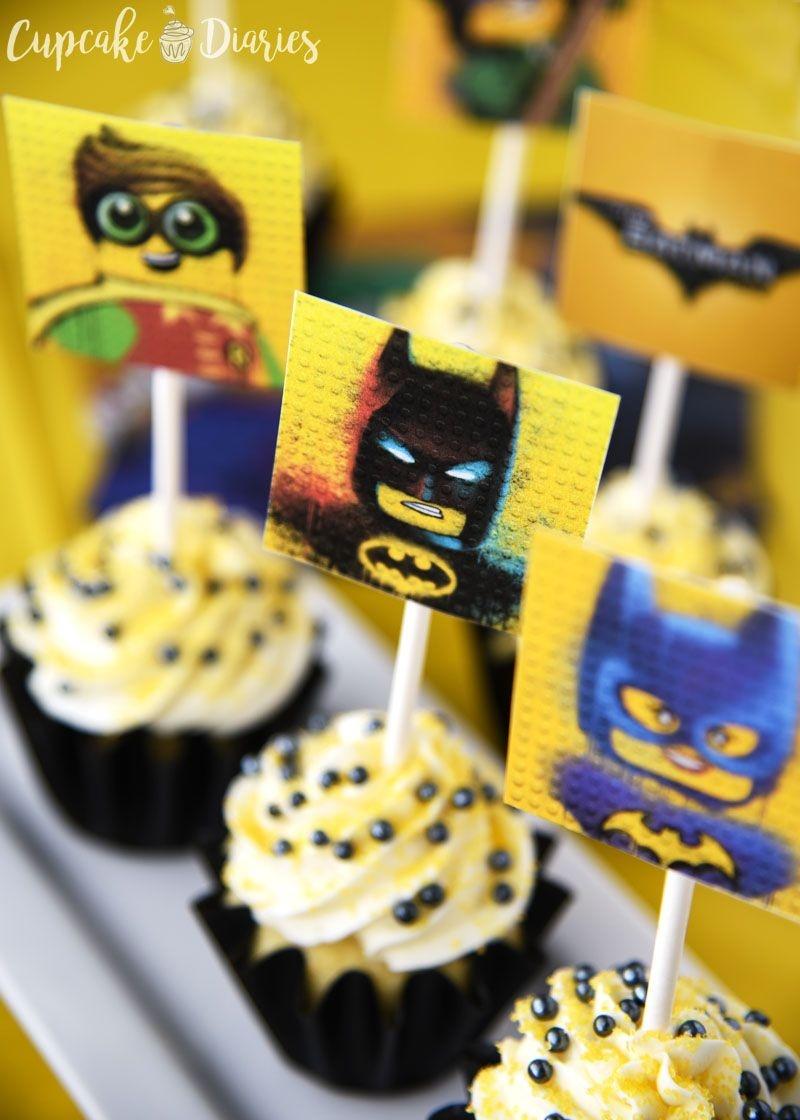 Lego Batman Cupcakes With Free Printable Toppers - Batman Cupcake Toppers Free Printable