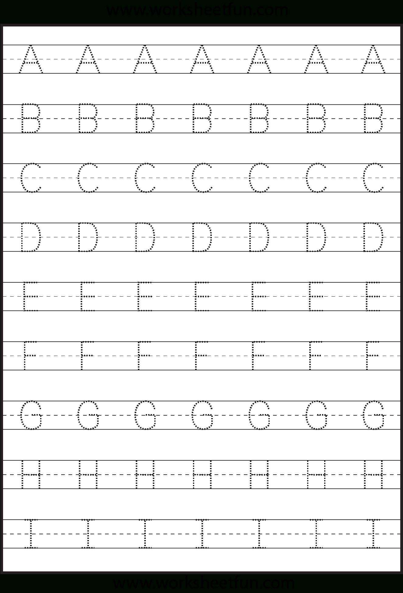 Letter Tracing - 3 Worksheets   Kindergarten Worksheets   Letter - Free Printable Alphabet Tracing Worksheets