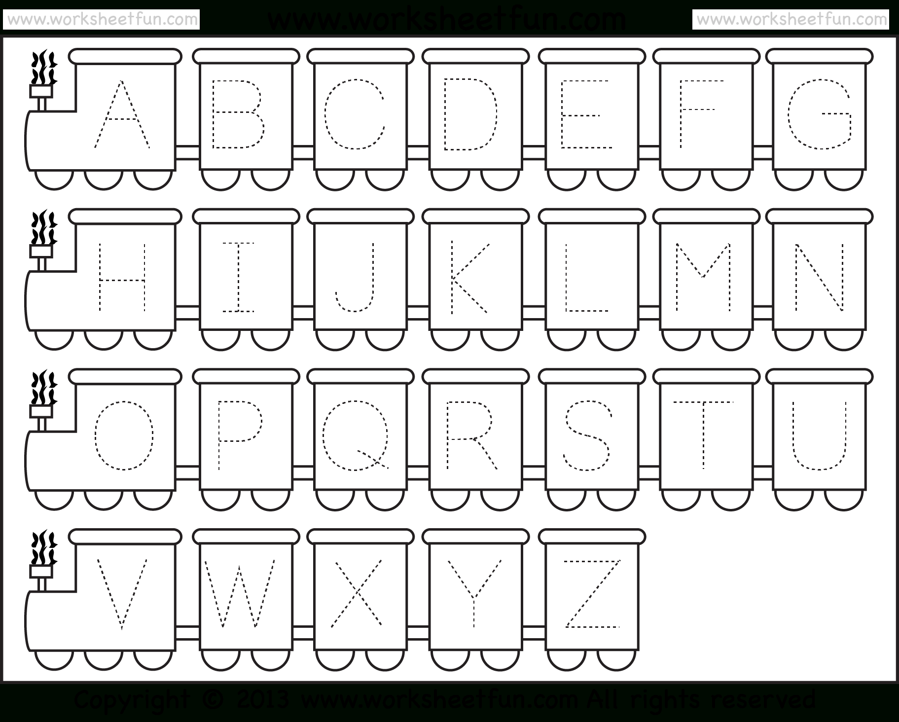 Letter Tracing Worksheet – Train Theme / Free Printable Worksheets - Free Printable Tracing Alphabet Worksheets