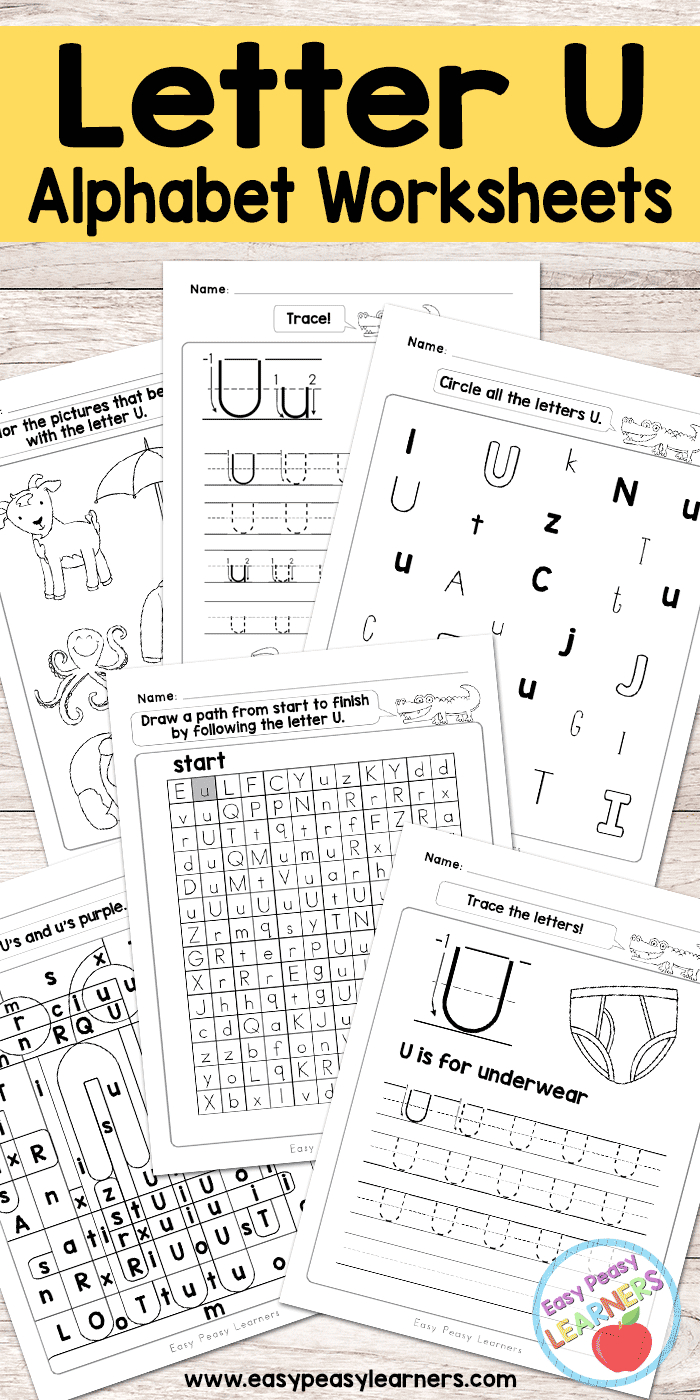 Letter U Worksheets - Alphabet Series - Easy Peasy Learners - Free Printable Letter Worksheets