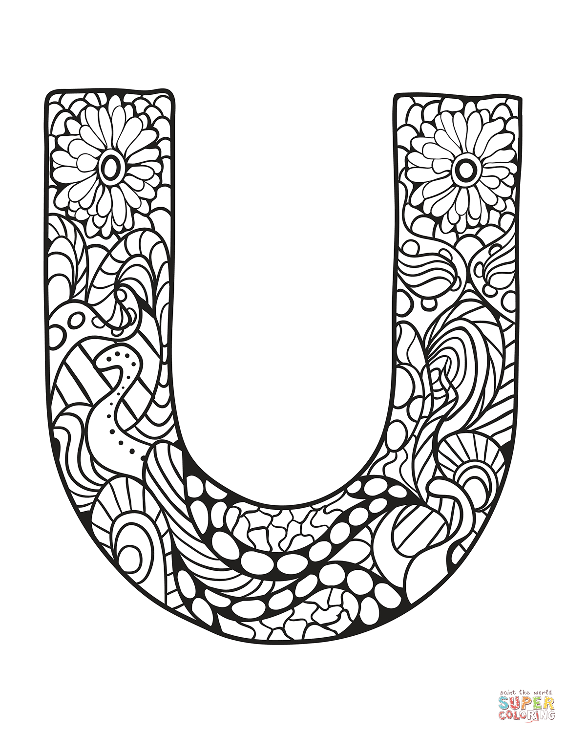 Letter U Zentangle Coloring Page   Free Printable Coloring Pages - Free Printable Letter U Coloring Pages