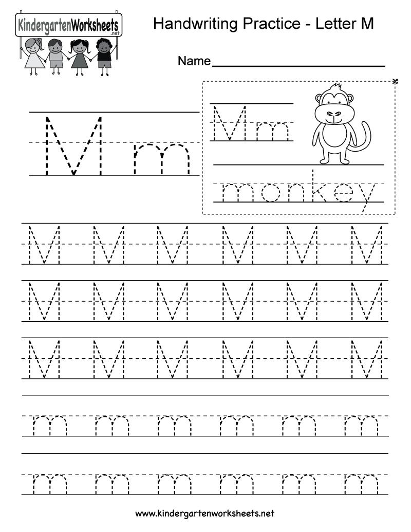 Letter Writing Practice Worksheet - Tutlin.psstech.co - Free Printable Handwriting Sheets For Kindergarten
