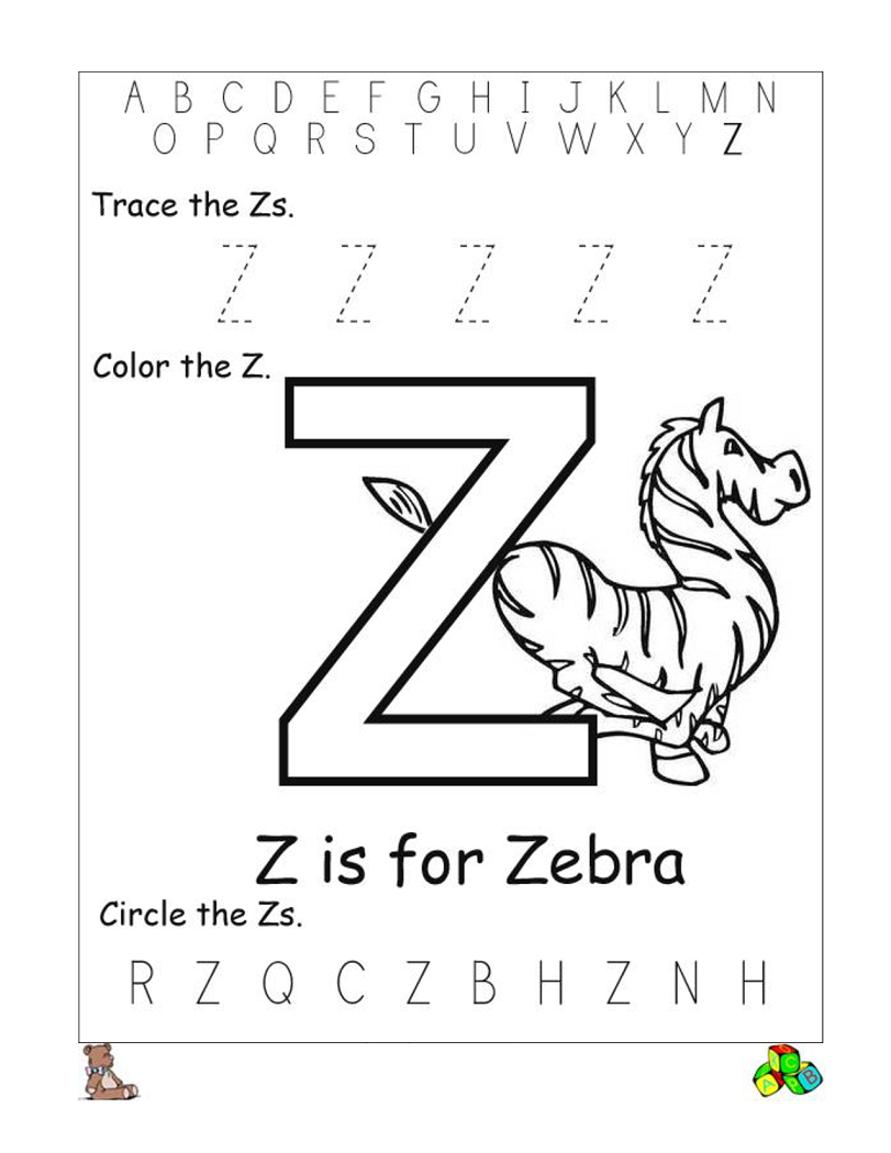 Letter Z Worksheets Printable | Reading // Sight Words - Letter Z Worksheets Free Printable