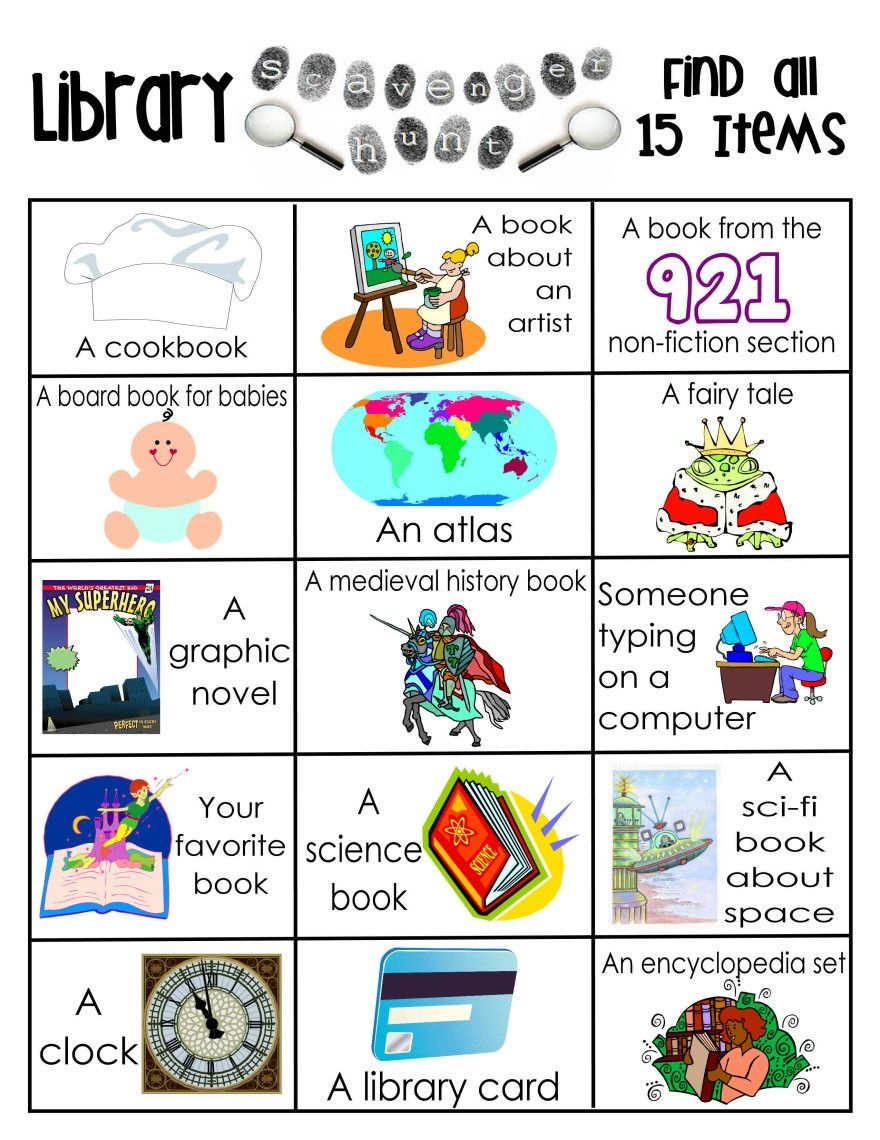 Library Activities | Reading | Library Scavenger Hunts, School - Free Printable Library Skills Worksheets