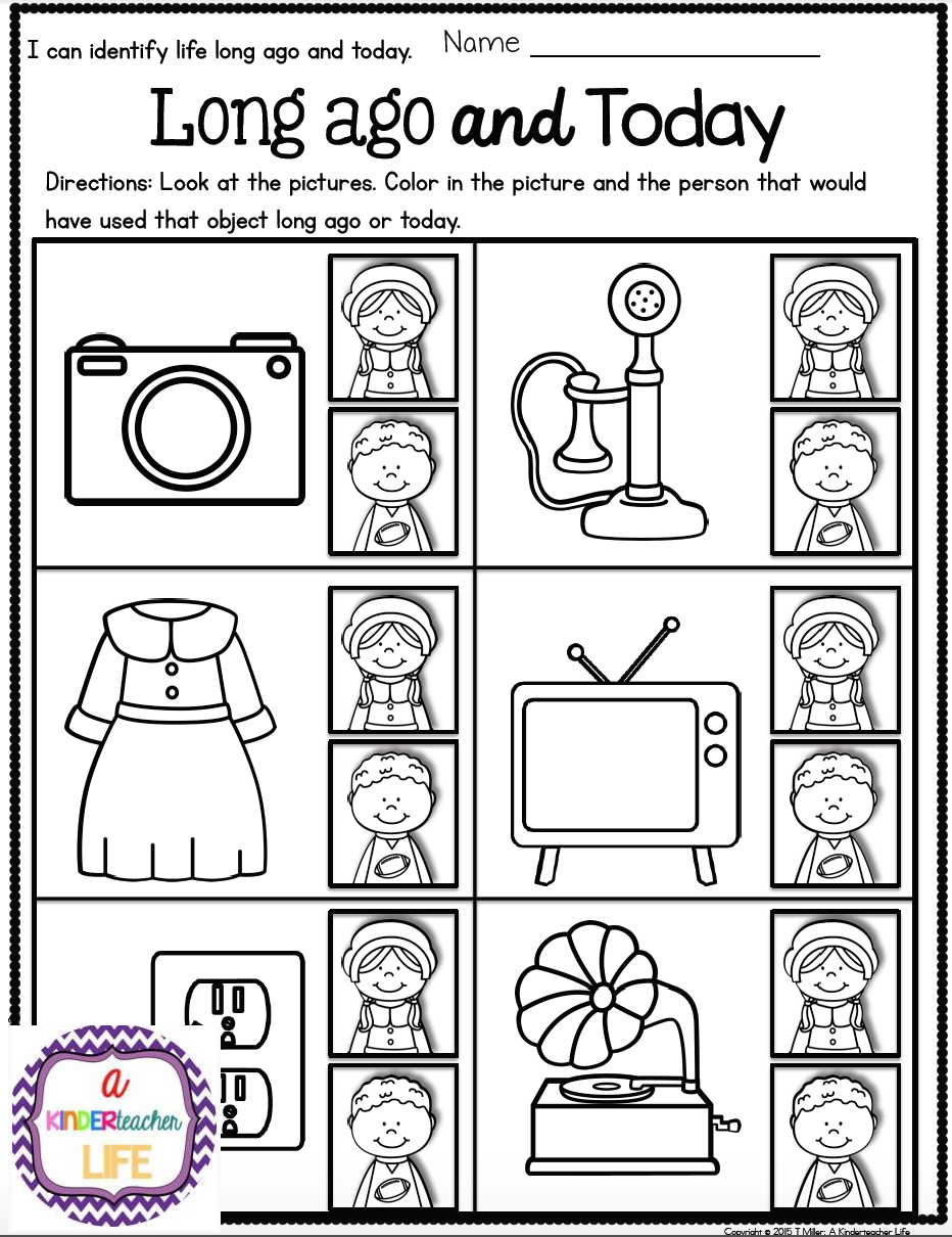 Life Long Ago And Today Activities And Sorting Worksheets | Best Of - Social Studies Worksheets First Grade Free Printable