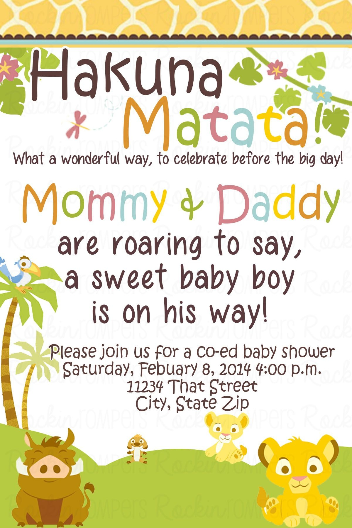 Lion King Baby Shower Invitation Www.facebook/rockinrompers Www - Free Printable Lion King Baby Shower Invitations