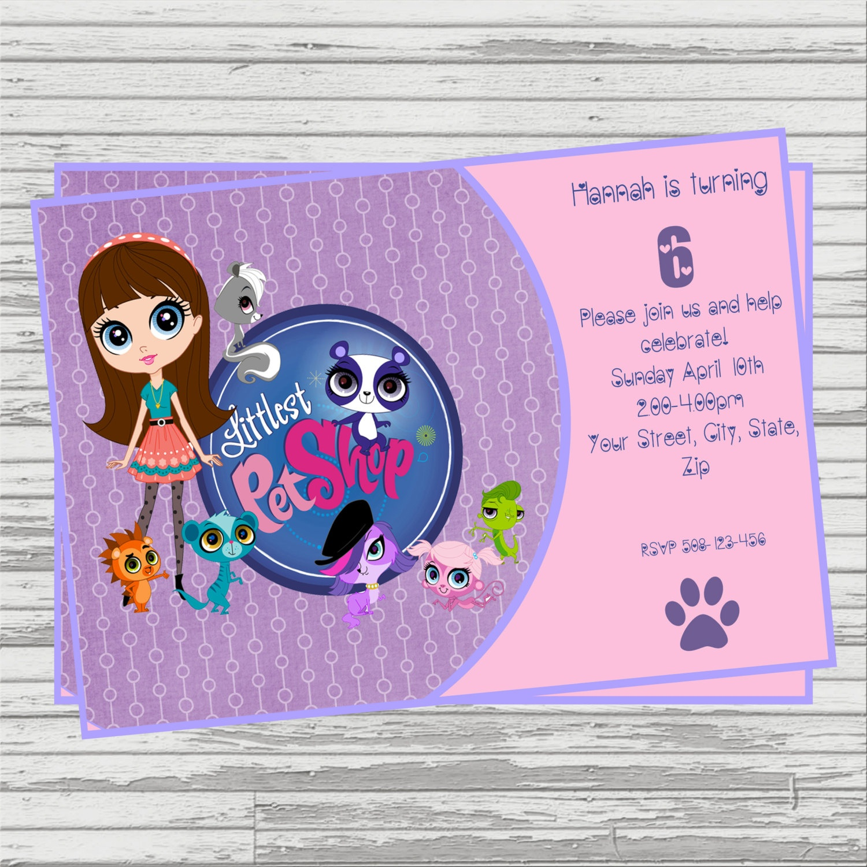 Littlest Pet Shop Digital Birthday Invitation.   Etsy - Littlest Pet Shop Invitations Printable Free