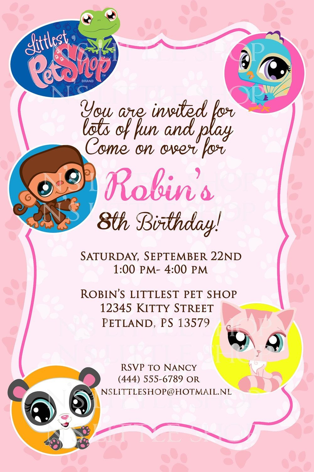 Littlest Pet Shop Inspired Birthday Invitation Card / Customize - Littlest Pet Shop Invitations Printable Free
