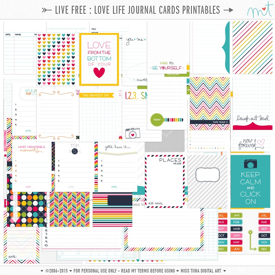 Live Free : Love Life » 73 Free Printable Journal Cards | Misstiina - Free Printable Personal Cards