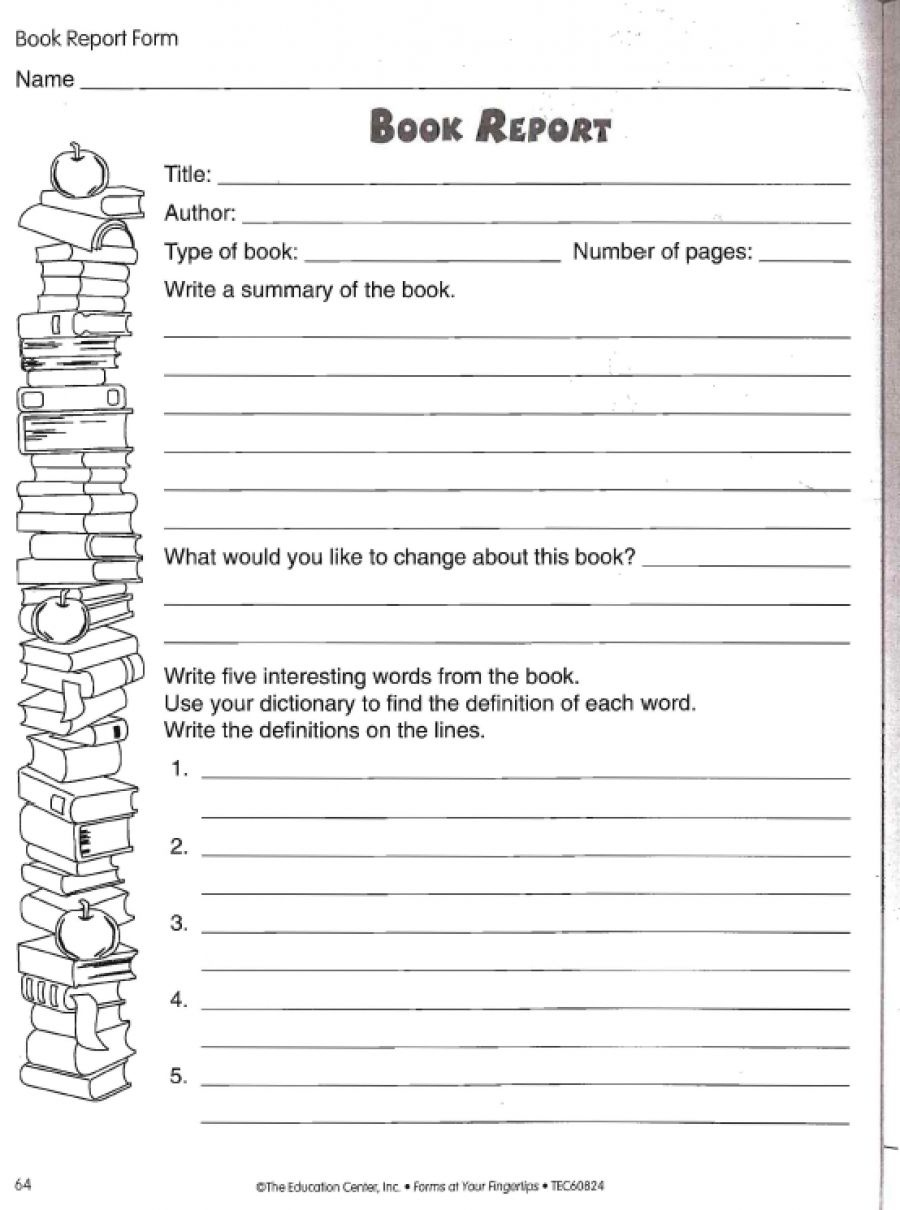 Love To Teach   Book Report Worksheet   Teacher, Student, And Parent - Free Printable Book Report Forms For Elementary Students