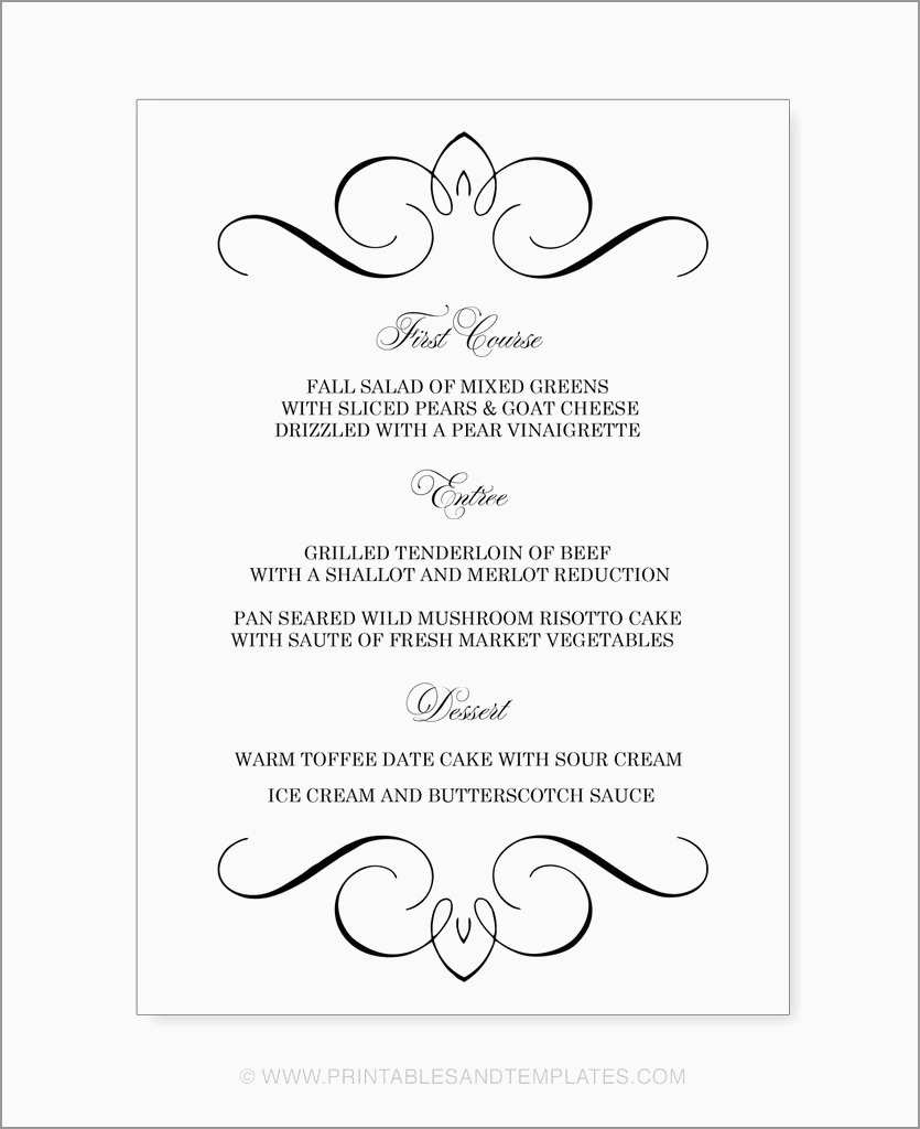 Lovely Free Catering Menu Templates For Microsoft Word | Best Of - Menu Template Free Printable Word