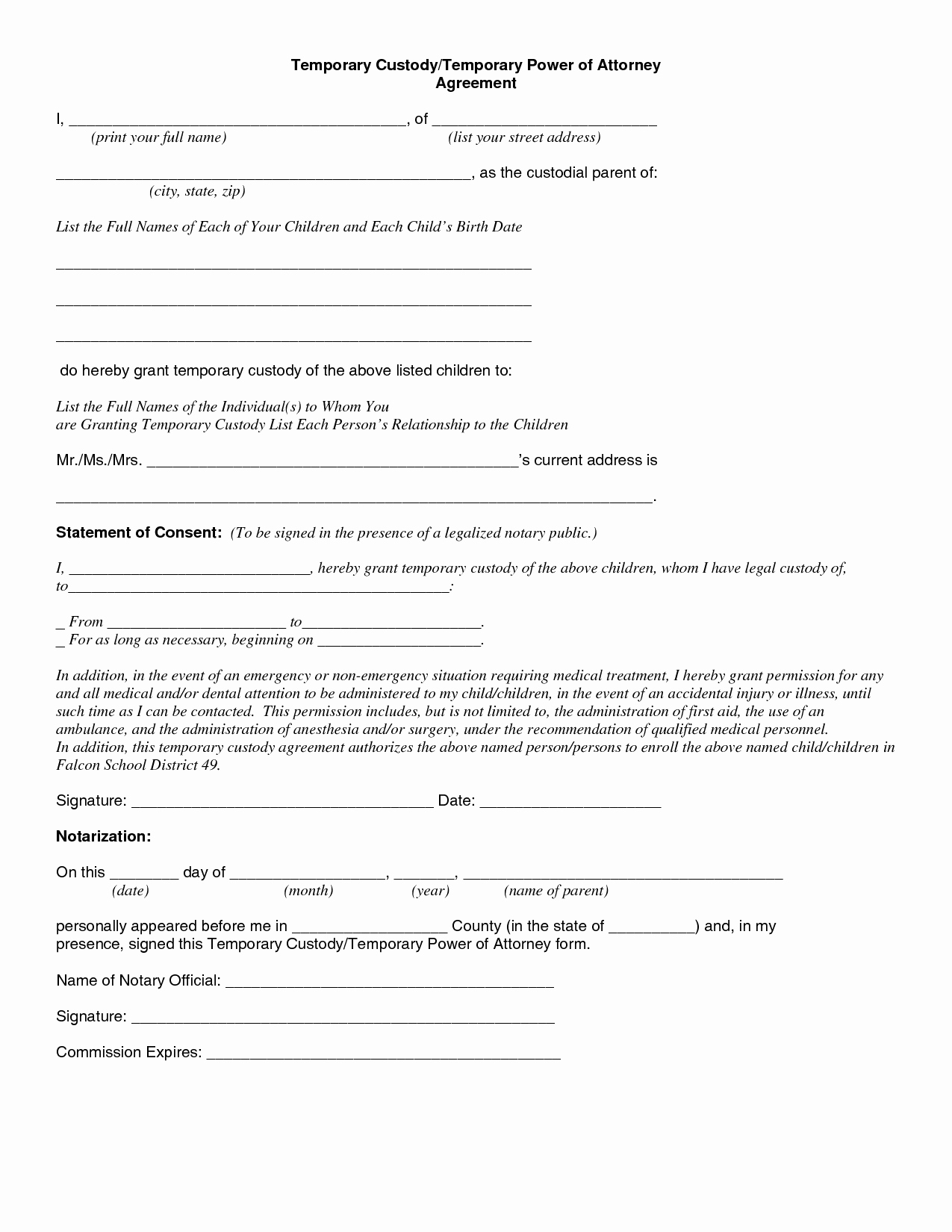 Lovely Temporary Guardianship Forms Free Printable Child - Free Printable Child Guardianship Forms