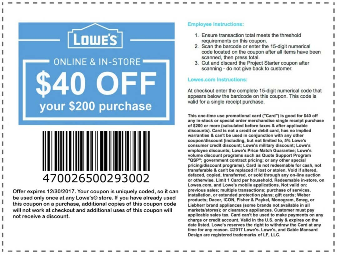 Lowes Promo Codes & Coupons - Free Printable Lowes Coupons