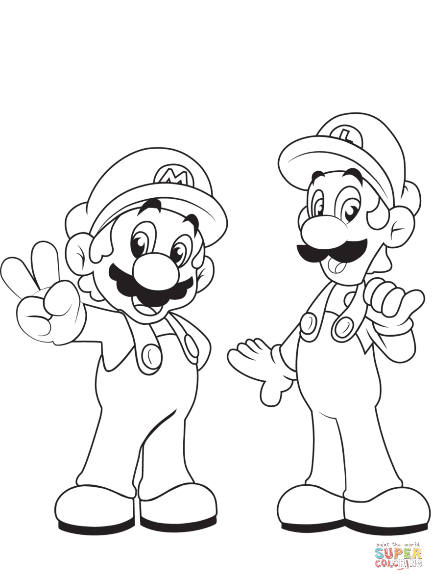 Luigi With Mario Coloring Page | Free Printable Coloring Pages - Mario Coloring Pages Free Printable