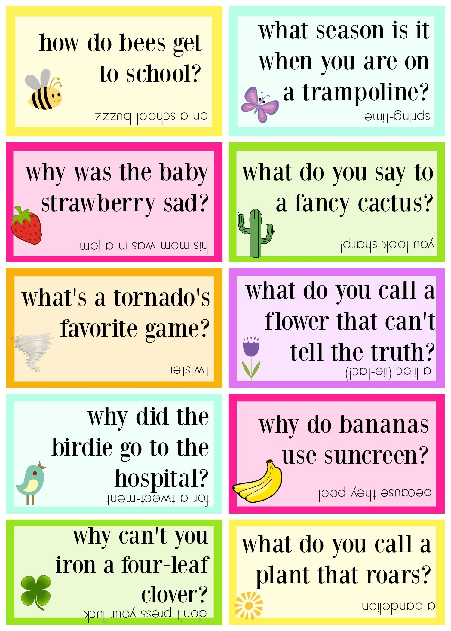 Lunch Box Jokes For Spring, Free Printable | Lunch Box Jokes And - Free Printable Jokes For Adults