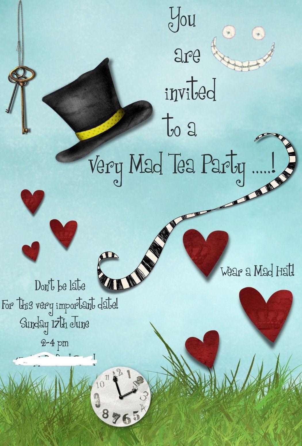 Mad Hatters Tea Party Invitation Template Free | Tea Party In 2019 - Mad Hatter Tea Party Invitations Free Printable